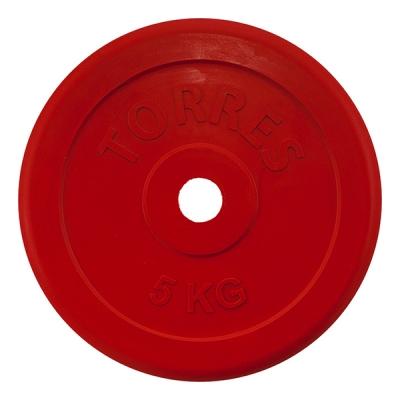 Диск обрезиненный 25mm 5kg Red PL50405 TORRES