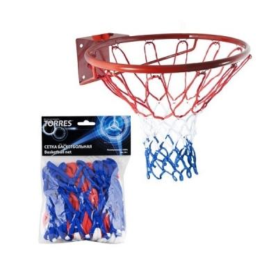 Сетка баскетбольная TORRES 4.0mm White/Red/Blue SS11050