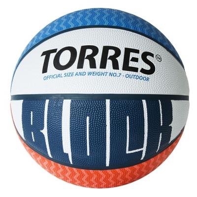 Мяч для баскетбола TORRES Block White/Blue/Orange B0207