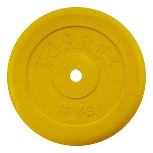 Диск обрезиненный 25mm 15kg Yellow PL504215 TORRES