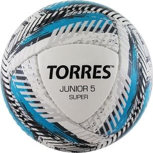 Мяч для футбола TORRES Junior-5 Super HS White/Cyan/Gray F320305