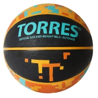 Мяч для баскетбола TORRES TT Black/Orange B0212