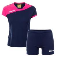 Комплект Mikasa Kit W T-shirt+Shorts Dark Blue/Pink MT376-063