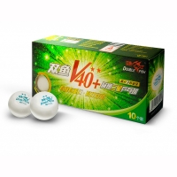 Мячи Double Fish 2* V40+ ITTF Plastic x10 White V211F