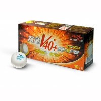 Мячи Double Fish 1* V40+ ITTF Plastic ABS x10 White V201F