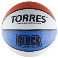 Мяч для баскетбола TORRES Block White/Red/Blue B0007