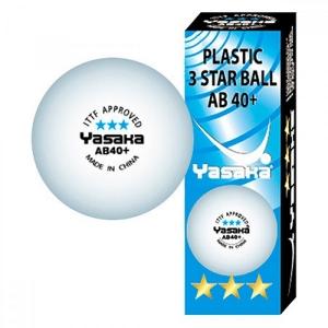 Мячи Yasaka 3* AB40+ Plastic x3 White