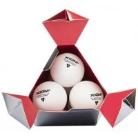 Мячи для настольного тенниса XIOM 3* Seamless ITTF 40+ Plastic x3 White