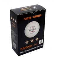 Мячи для настольного тенниса Kingnik 3* Seamless 40+ Plastic x6 White